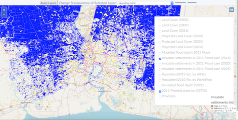 Screenshot of predicted land use and flood extent