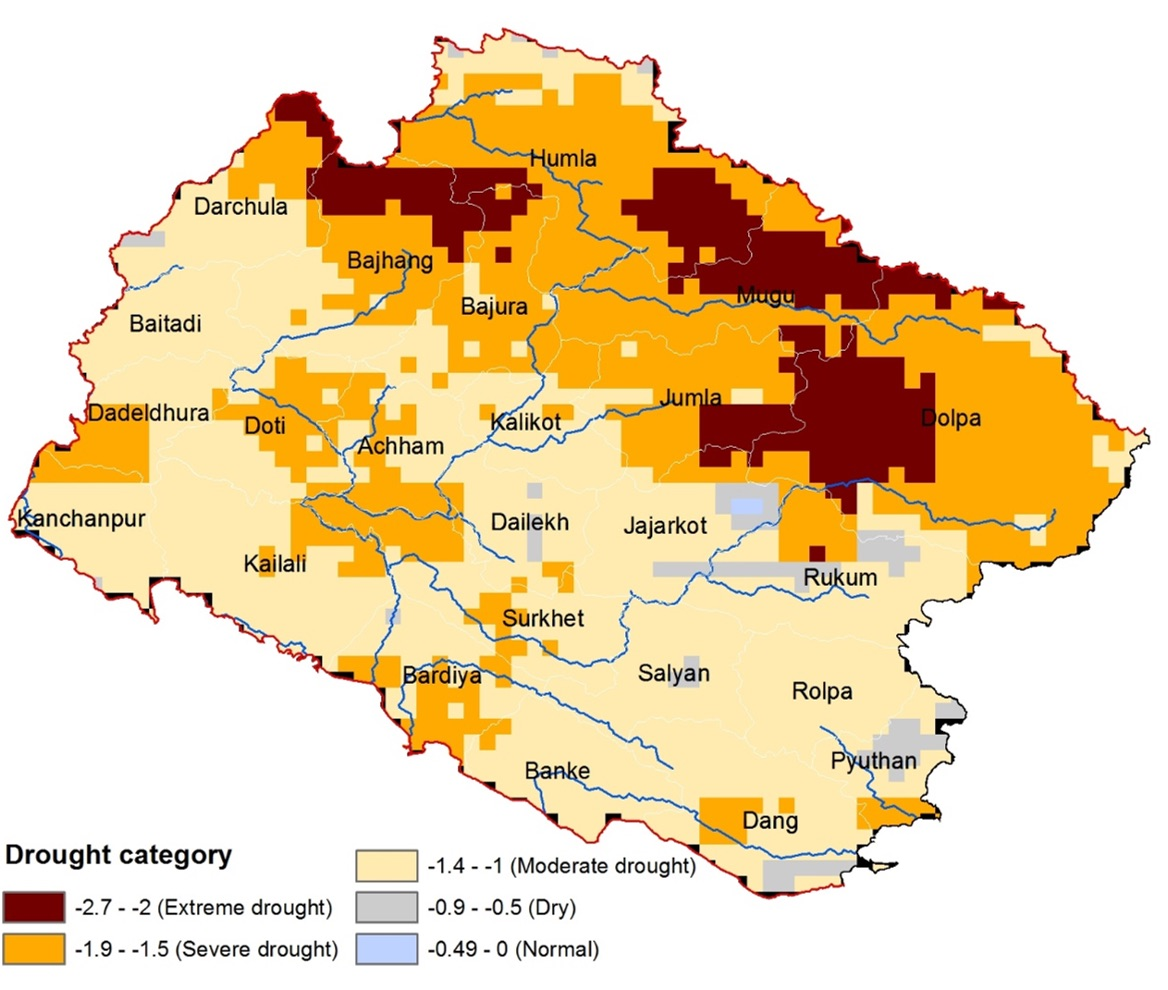 Mapping Of Drought Across The Mid Western And Far Western Regions