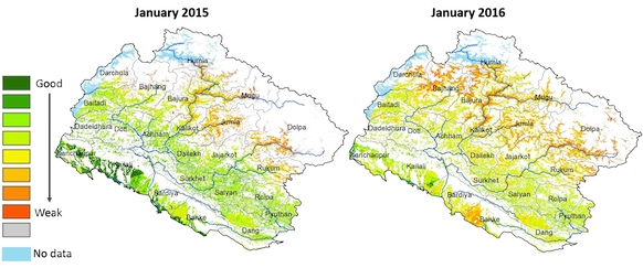 Mapping of vegetation conditions  in agriculture and rangeland areas
