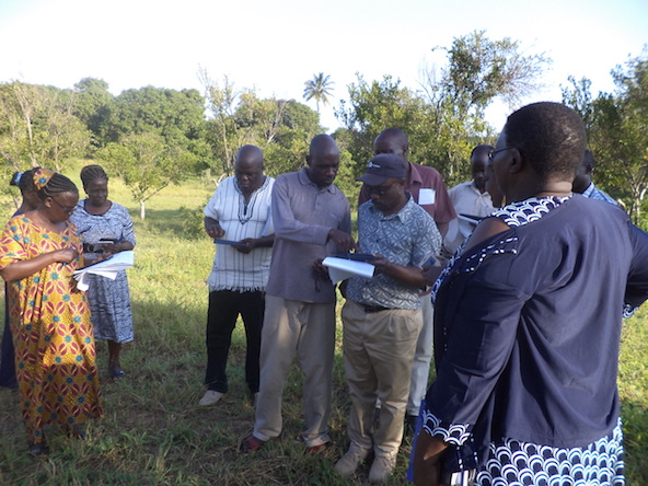 Antony Ndubi assisting a small group doing fieldwork