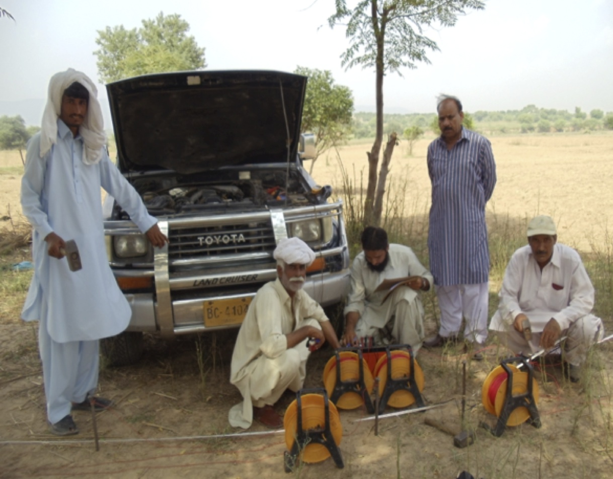 Fieldwork measuring groundwater