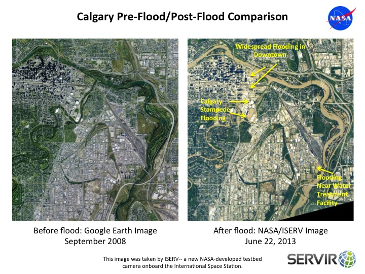 Calgary Before and After flooding image