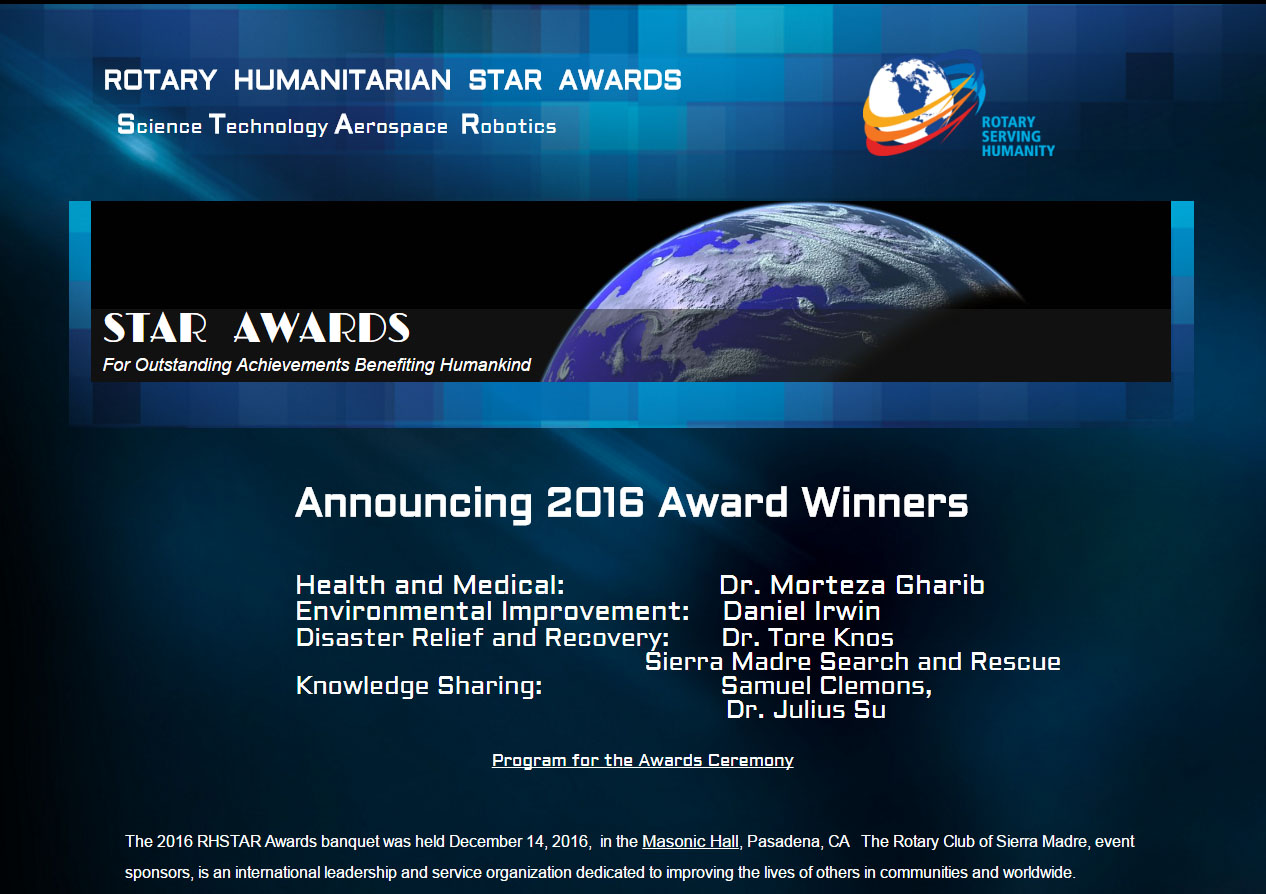 screenshot of rotary star award announcement