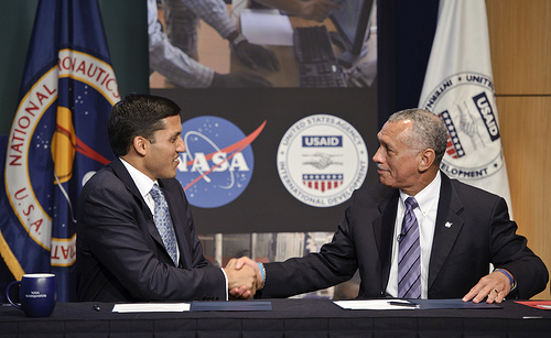 USAID and NASA Administrators Shah and Bolden sign MOU